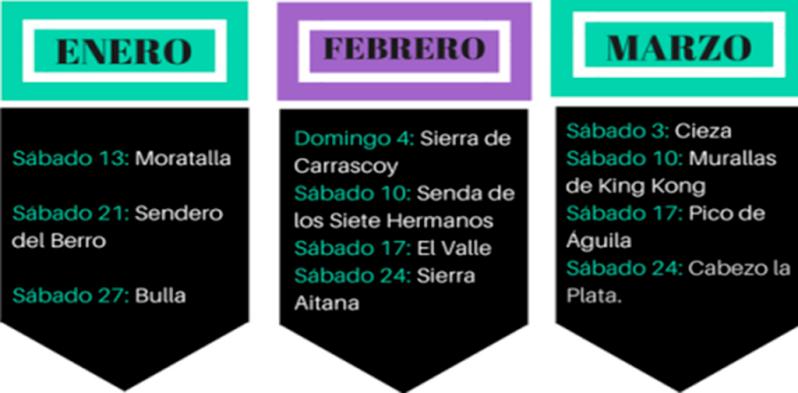 calendario de rutas senderistas enero marzo