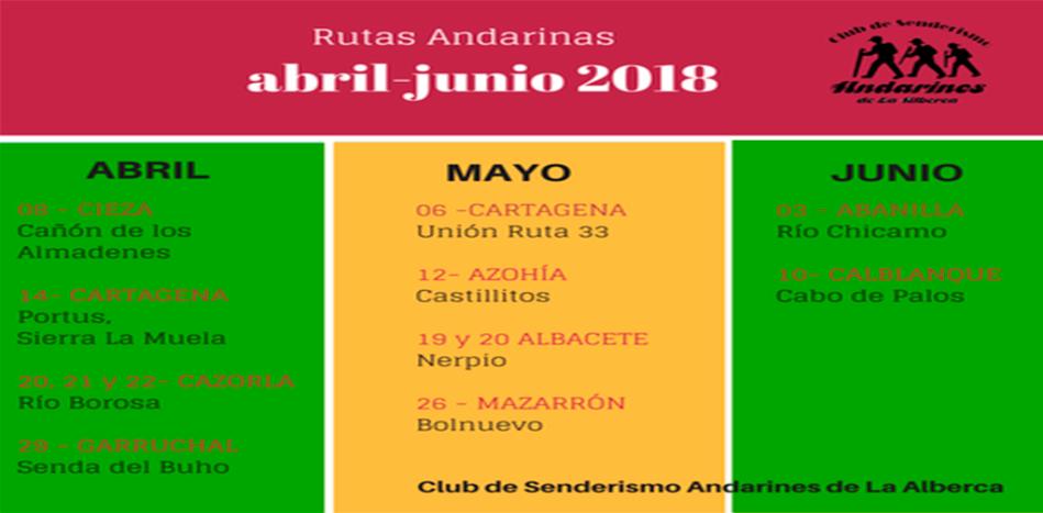 calendario rutas Andarines de La Alberca
